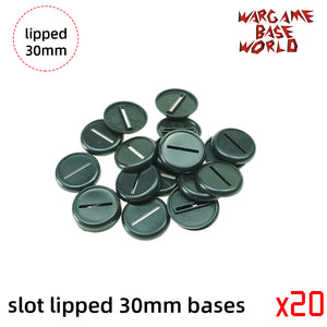 Wargame Bases -slot 30mm Lipped bases
