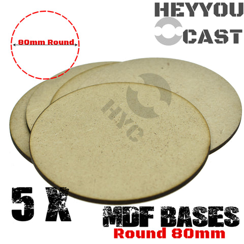 warhammer bases - Lot of 5 80mm round mdf bases - MDF BASE - WargameBase Store