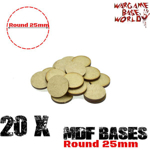 warhammer bases - Wargame Base World - Lot of 20 - 25mm Round mdf bases - MDF BASE - WargameBase Store