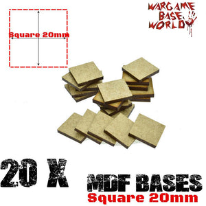 warhammer bases - Wargame Base World - Lot of 20 - 20mm square mdf bases - MDF BASE - WargameBase Store