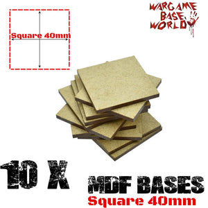 warhammer bases - Wargame Base World - Lot of 10 - 40mm square mdf bases - MDF BASE - WargameBase Store