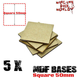 warhammer bases - Wargame Base World - Lot of  5 - 50mm square mdf bases - MDF BASE - WargameBase Store