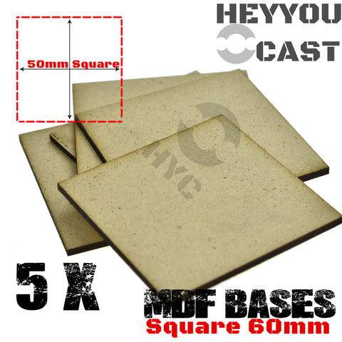 warhammer bases - Wargame Base World - Lot of 5 - 60mm square mdf bases - MDF BASE - WargameBase Store