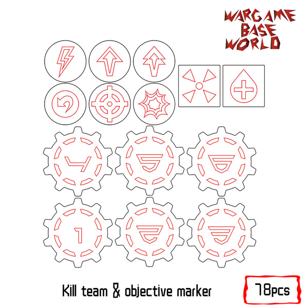 warhammer bases - Wargaming Accessory Set - kill team tokens - 78pcs - Objective Marker - WargameBase Store
