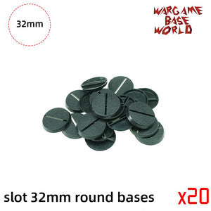 warhammer bases - Wargame Base World - Lot of 32mm Slot Round Warhammer Bases for Miniatures - Plastic wargame bases - WargameBase Store