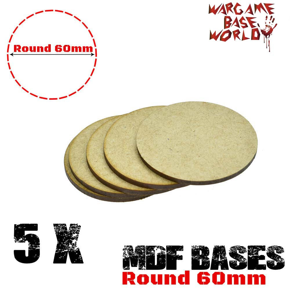 warhammer bases - Wargame Base World - Lot of 5 - 60mm mdf round bases - MDF BASE - WargameBase Store