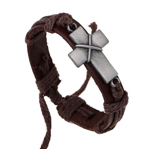 Men's Handmade Leather and Rope Bracelet with Metal Cross