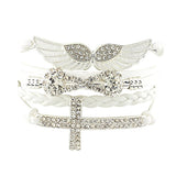 Angel Wings, Infinity and Crystal Cross Leather Bangle