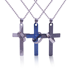 Large Bible Verse Cross Pendant Necklace on Bead Chain
