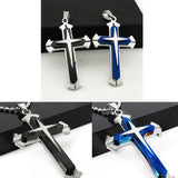 Stainless Steel Cross Pendant Necklace with Bead Chain