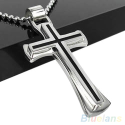 Polished Steel Cross-on-Cross with Black Inlay and Bead Chain