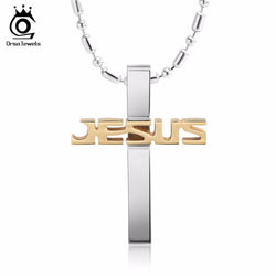 Titanium Jesus Name Cross Necklace