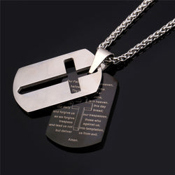 Polished Stainless Steel Dog Tags with Separate Lord's Prayer and Drop Out Cross Tags