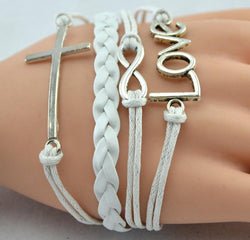 Leather Rope Bracelet with Love + Cross + Infinite Charms