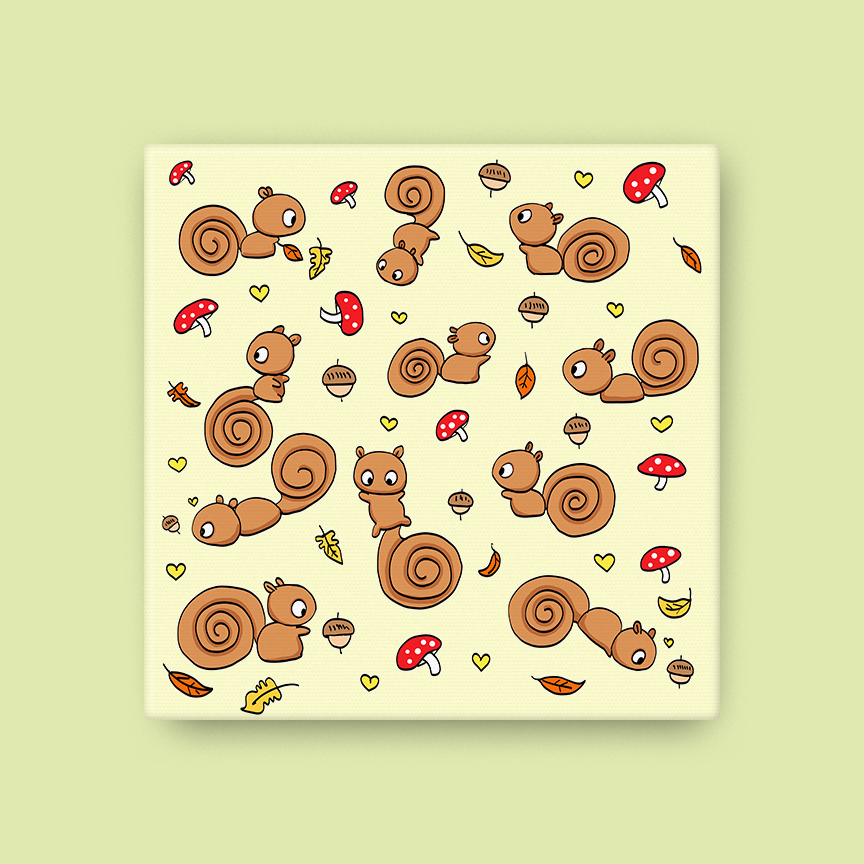 Cinnamon Squirrels Canvas
