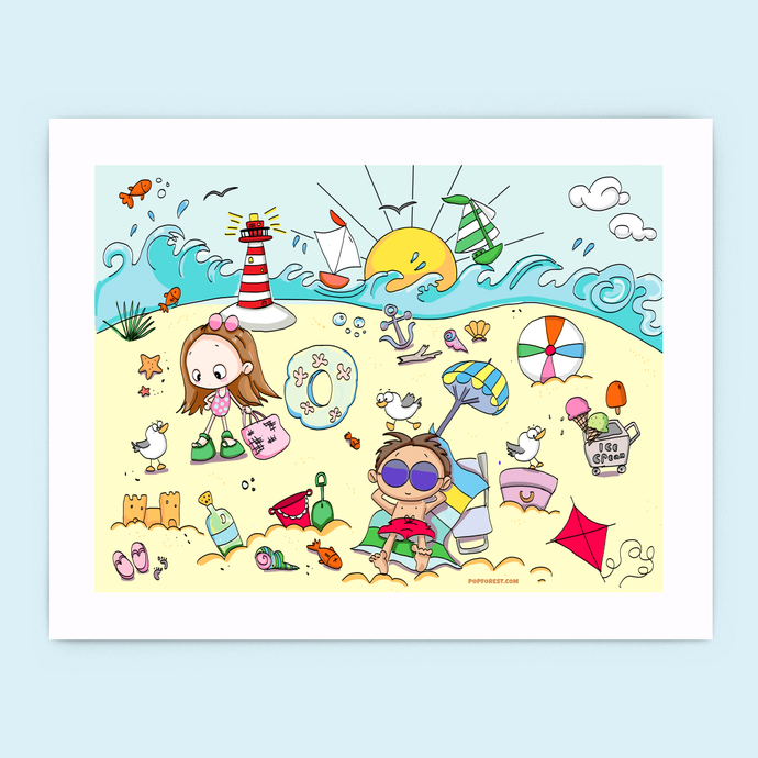 A Day at the Beach Print