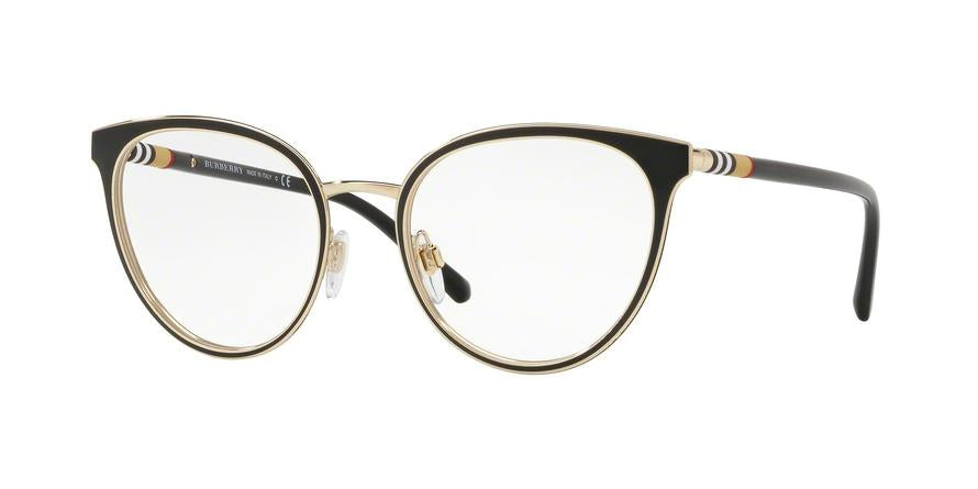 Burberry BE1324 Cat Eye Eyeglasses  1262-BLACK/LIGHT GOLD 52-19-140 - Color Map black