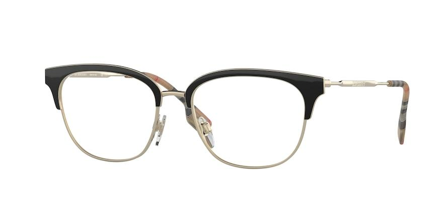 Burberry BE1334 Square Eyeglasses  1109-PALE GOLD/BLACK 52-17-140 - Color Map black