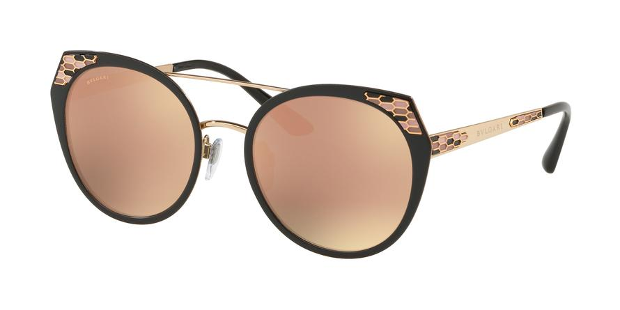 Bvlgari BV6095 Cat Eye Sunglasses  20244Z-BLACK DEMI MATTE/ROSE GOLD 53-20-145 - Color Map black
