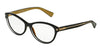 DOLCE & GABBANA DG3232 Cat Eye Eyeglasses  2955-TOP BLACK ON GOLD 55-15-140 - Color Map black