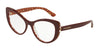 DOLCE & GABBANA DG3285F Cat Eye Eyeglasses  3205-BORDEAUX ON DAMASCUS GLITTER 54-17-140 - Color Map bordeaux