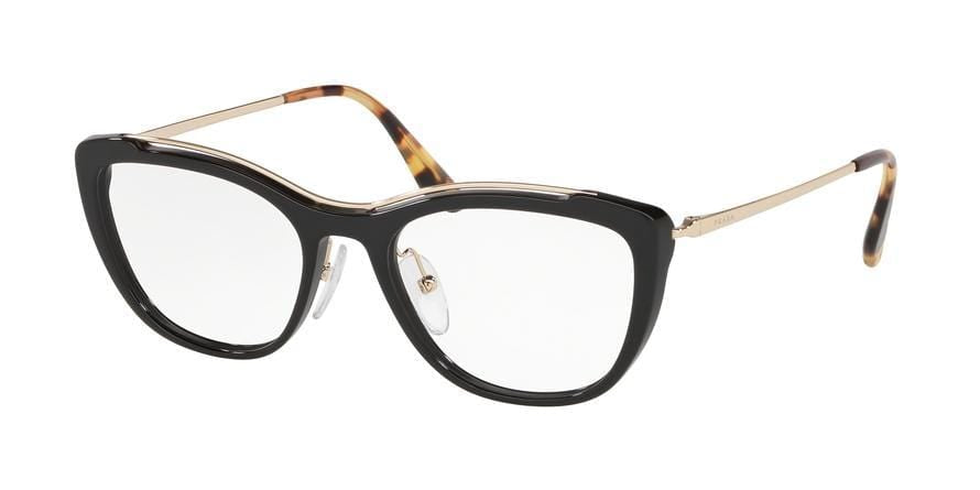 Prada CONCEPTUAL PR04VV Irregular Eyeglasses  1AB1O1-BLACK 53-18-140 - Color Map black