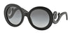 Prada CATWALK PR27NSA Round Sunglasses  1AB3M1-GLOSS BLACK 55-22-135 - Color Map black