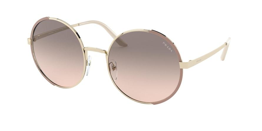 Prada PR59XS Round Sunglasses  07B4K0-PALE GOLD/MATTE PINK 57-22-140 - Color Map black