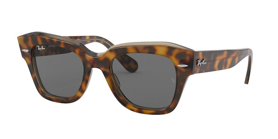 Ray-Ban STATE STREET RB2186 Square Sunglasses  1292B1-HAVANA ON TRASPARENT LIGHT BRO 49-20-145 - Color Map havana
