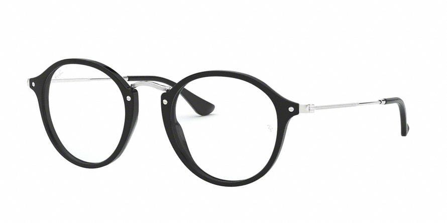 Ray-Ban Optical ROUND RX2447V Round Eyeglasses  2000-SHINY BLACK 49-21-145 - Color Map black