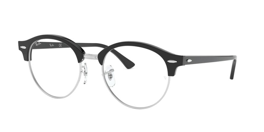 Ray-Ban Optical CLUBROUND RX4246V Round Eyeglasses  2000-SHINY BLACK 49-19-140 - Color Map black