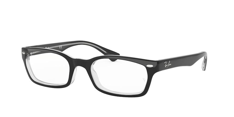 Ray-Ban Optical RX5150 Rectangle Eyeglasses  2034-BLACK ON TRANSPARENT 52-19-135 - Color Map black