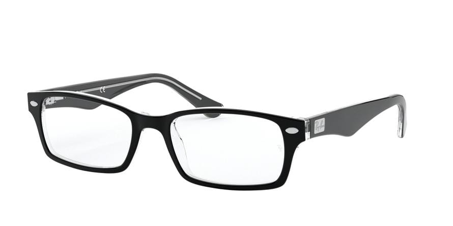 Ray-Ban Optical RX5206 Rectangle Eyeglasses  2034-TOP BLACK ON TRANSPARENT 54-18-145 - Color Map black