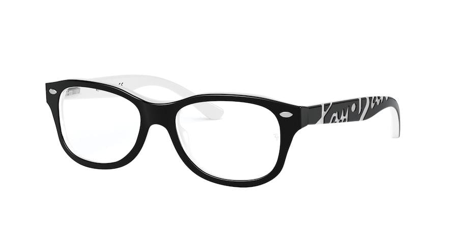 Ray-Ban Junior Vista RY1544 Square Eyeglasses  3579-TOP BLACK ON WHITE 48-16-130 - Color Map black
