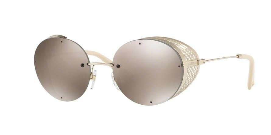 Valentino VA2003 Round Sunglasses  30035A-LIGHT GOLD 52-18-125 - Color Map gold