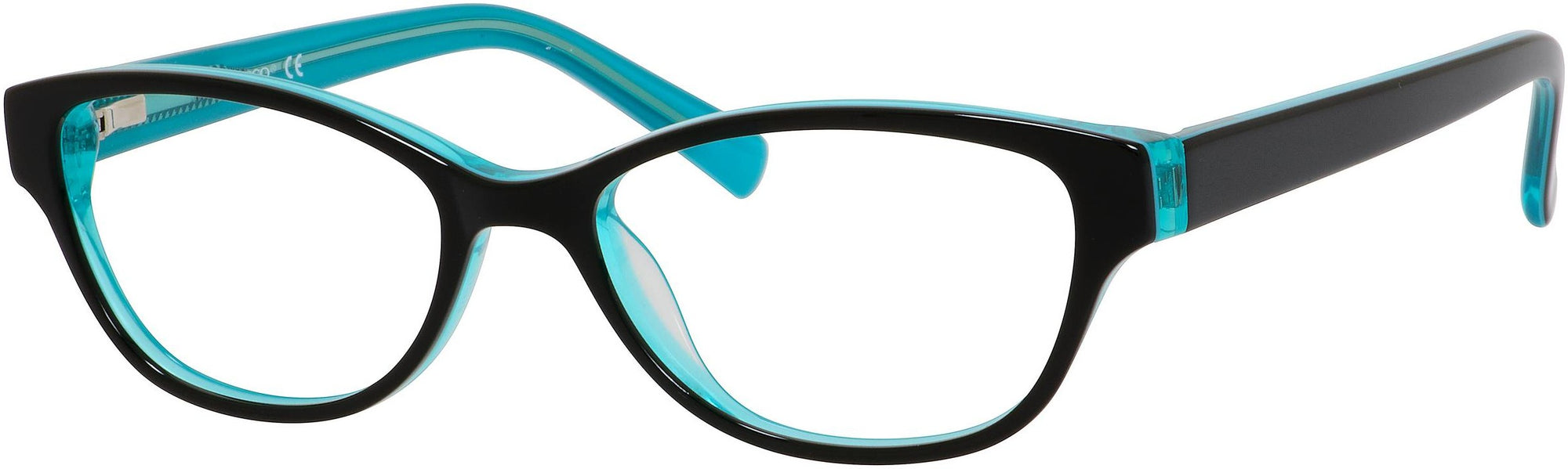 Adensco AD 201 Oval Modified Eyeglasses 0DB5-0DB5  Black Turquoise (00 Demo Lens)