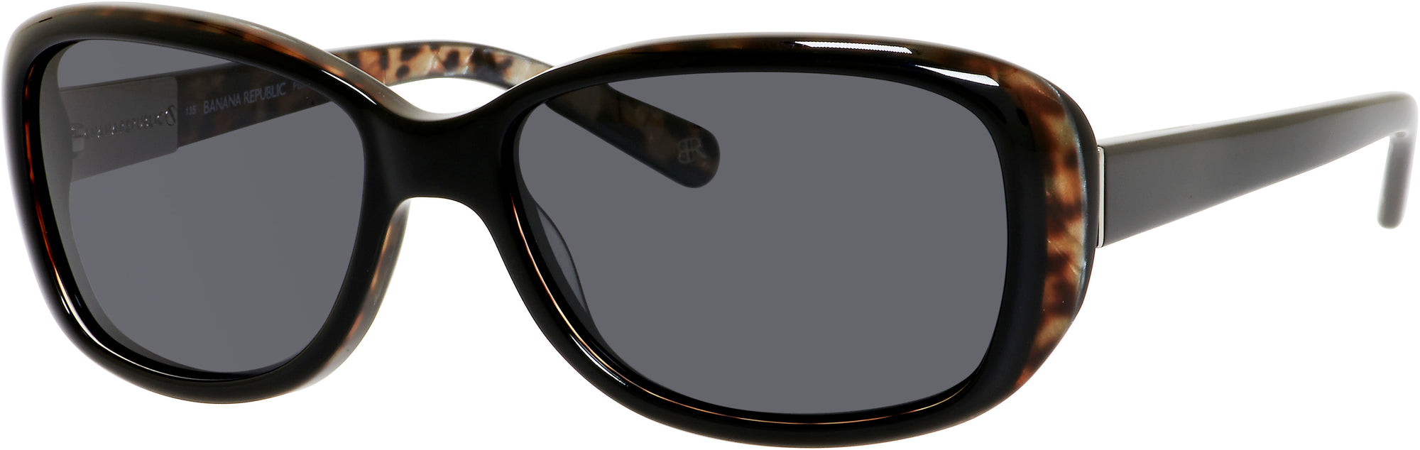 Banana Republic Amie/P/S Rectangular Sunglasses DP6P-DP6P  Black Animal (RA Gray Polarized)
