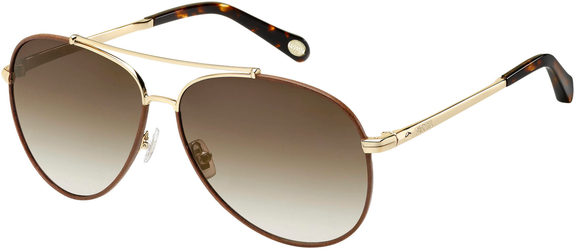 Fossil FOS 2000/L/S Aviator Sunglasses 03YG-03YG  Light Gold (CC Brown Gradient)