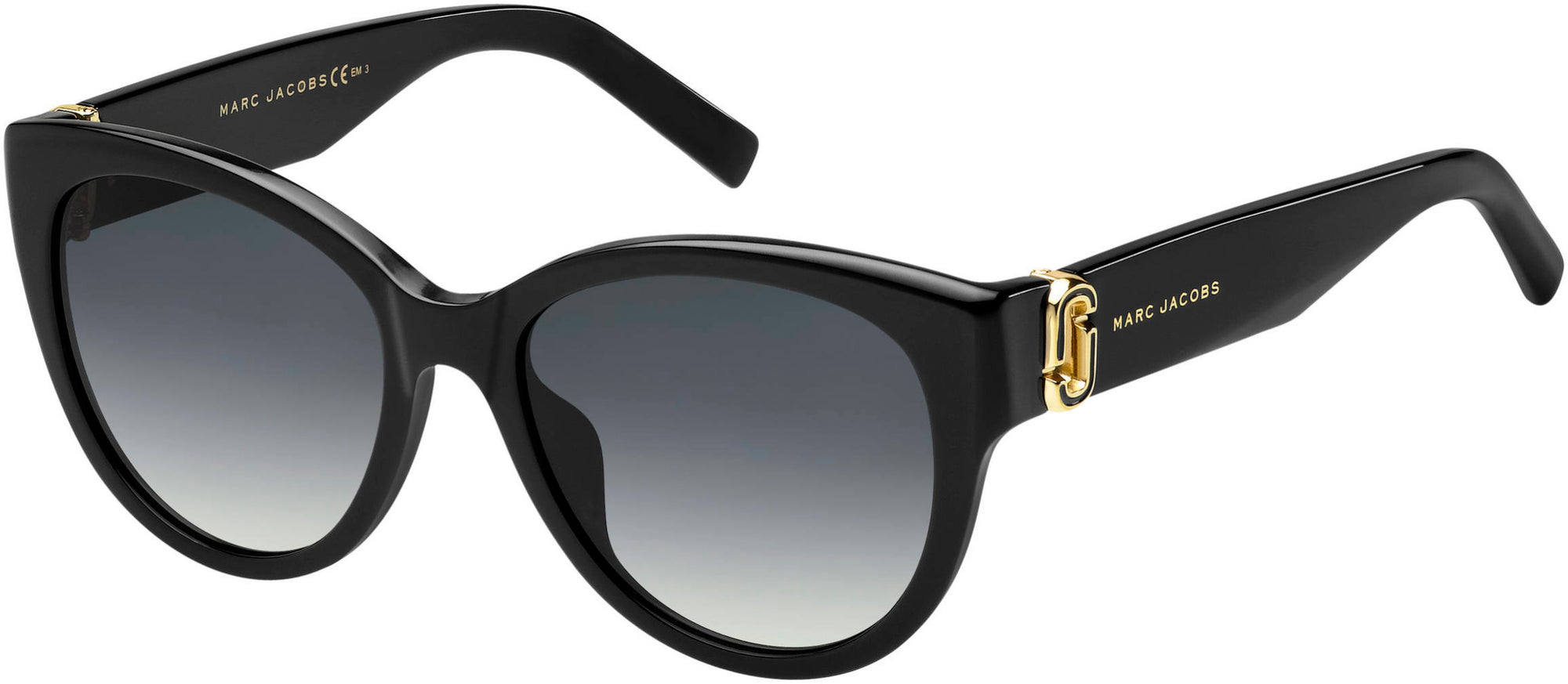 Marc Jacobs Marc 181/S Oval Modified Sunglasses 0807-0807  Black (9O Dark Gray Gradient)