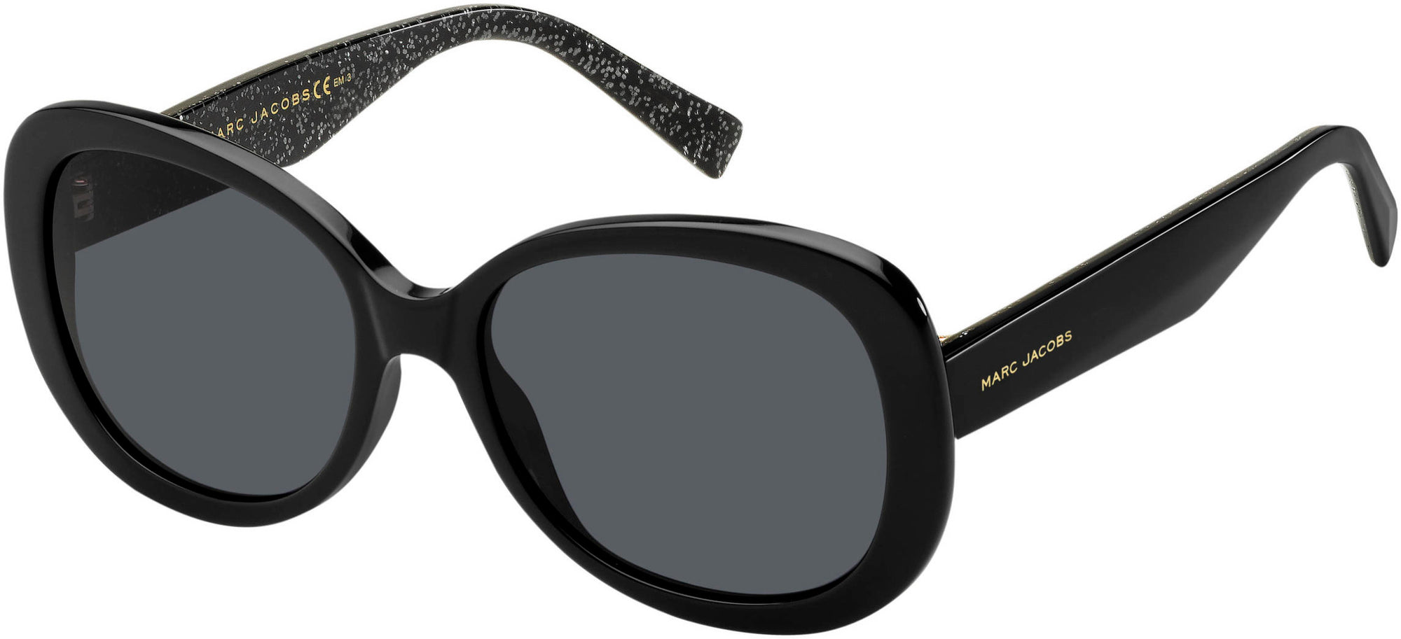 Marc Jacobs Marc 261/S Oval Modified Sunglasses 0NS8-0NS8  Black Glitter (IR Gray Blue)