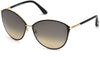 Tom Ford FT0320 Penelope Round Sunglasses 28B-28B - Shiny Rose Gold, Shiny Black Coating / Gradient Smoke Lenses