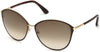 Tom Ford FT0320 Penelope Round Sunglasses 28F-28F - Shiny Rose Gold, Shiny Dark Brown Coating / Gradient Brown Lenses