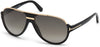 Tom Ford FT0334 Dimitry Pilot Sunglasses 01P-01P - Shiny Black, Shiny Rose Gold Details / Green Gradient Smoke Lenses
