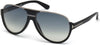 Tom Ford FT0334 Dimitry Pilot Sunglasses 02W-02W - Matte Black, Shiny Dark Ruthenium Details / Gradient Blue Lenses