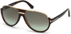 Tom Ford FT0334 Dimitry Pilot Sunglasses 56K-56K - Shiny Dark Havana, Shiny Rose Gold Details / Gradient Green Lenses