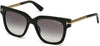 Tom Ford FT0436 Tracy Geometric Sunglasses 01B-01B - Shiny Black  / Gradient Smoke
