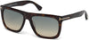 Tom Ford FT0513 Morgan Geometric Sunglasses 52W-52W - Shiny Dark Havana / Gradient Turquoise-To-Sand Lenses