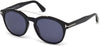 Tom Ford FT0515 Newman Geometric Sunglasses 01V-01V - Shiny Black  / Blue