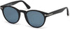 Tom Ford FT0522 Palmer Round Sunglasses 01V-01V - Shiny Black  / Blue