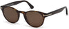 Tom Ford FT0522 Palmer Round Sunglasses 52E-52E - Dark Havana / Brown